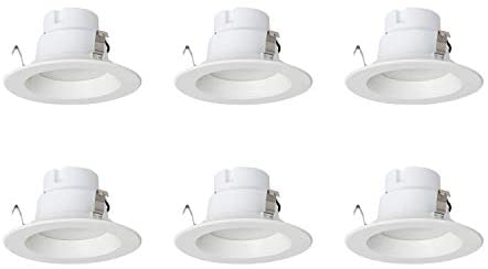 AmazonCommercial 65 Watt Equivalent, 4-Inch Recessed Downlight, Dimmable, CEC Compliant, Energy Star, Round LED Light Bulb | Daylight, 6-Pack