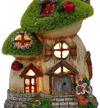 TERESA'S COLLECTIONS Flocked Big and Mini Mushroom Fairy Garden House Statue, Outdoor Fairy House with Solar Powered Garden Light, Garden Cottage Figurines for Outdoor Home Yard Decor (8 Inch Tall)