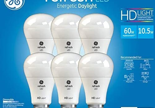 GE Refresh High Definition LED Bulb 10.5-watt 5000K Energetic Daylight Dimmable A19 6-Pack