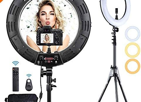 Inkeltech Ring Light – 18 inch 3000K-6000K Dimmable Bi-Color Light Ring, 60W LED Ring Light with Stand, Lighting Kit for Vlog, Selfie, Makeup, YouTube, Camera, Phone – LCD Screen & Remote Control