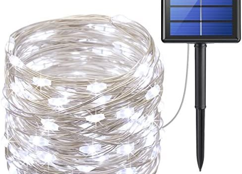 AMIR Upgraded Solar String Lights,72ft 8 Modes Copper Wire Lights, 200 LED Starry Lights, Waterproof IP65 Fairy Christams Decorative Lights for Outdoor, Wedding, Homes, Party, Halloween (White)