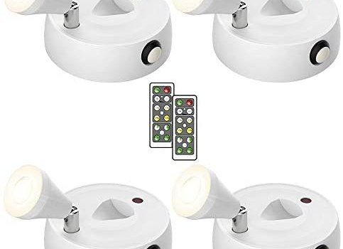 Olafus 4 Pack Wireless Spotlight, LED Accent Lights Battery Operated, Dimmable Puck Light with Remote Control, 2700K Warm White Small Uplights, Focus Light for Display Painting Picture Artwork Closet