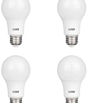 LUNO A19 Non-Dimmable LED Bulb, 9.0W (60W Equivalent), 800 Lumens, 2700K (Soft White), Medium Base (E26), UL Certified (4-Pack)