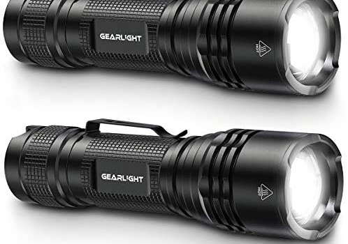 GearLight TAC LED Tactical Flashlight [2 PACK] – Single Mode, High Lumen, Zoomable, Water Resistant, Flash Light – Camping, Outdoor, Emergency, Everyday Flashlights with Clip
