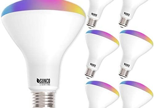 Sunco Lighting 6 Pack WiFi LED Smart Bulb, BR30, 8W, Color Changing (RGB & CCT), Dimmable, 650 LM, Compatible with Amazon Alexa & Google Assistant – No Hub Required