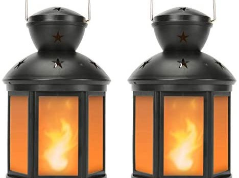 Vintage Decorative Lanterns Battery Powered LED, with 6 Hours Timer,Indoor/Outdoor,Small Lanterns Decor for Christmas,black-2pcs