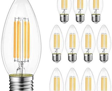 B11 LED Filament Bulb E26 Candelabra Base 5.5W(40W Equivalent), LVWIT Dimmable 2700K Warm White Chandelier Decorative Candle Light Bulb (12 Pack)