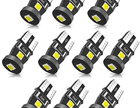 SEALIGHT 194 LED Bulb 6000K White Super Bright 168 2825 W5W T10 Wedge LED Replacement Bulbs, Canbus Error Free for Car Interior Dome Map Door Courtesy License Plate Lights, Pack of 10