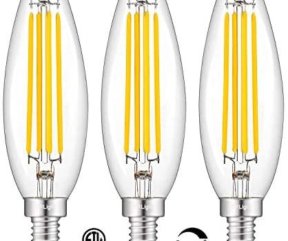 CRLight 8W Dimmable Long LED Candelabra Bulb 80W Equivalent 800LM, 2700K Warm White E12 Base, Lengthened & Enlarged B11 Clear Candle LED Filament Chandelier Bulbs, Smooth Dimming Version, 3 Pack