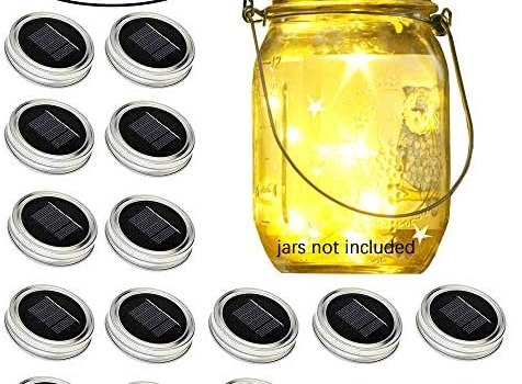 Solar-Powered Mason Jar Lid String Lights, 16 Packs of 30 LED Fairy Tale String Lights with (16 Hangers and 6 PVC) for Wedding, Courtyard, Garden, Family Party Birthday Party Decoration(No Jars)