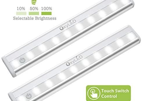 OxyLED Tape Closet Lights, Touch Light, 10 LED Dimmable Night Light, Stick-on Push Light, Cordless Touch Sensor LED Night Light, Wardrobe Lights, Safe Light with Magnetic Strip, Battery Operated