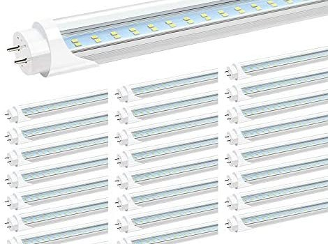 JESLED T8 4FT LED Light Tubes, 24W 5000K Daylight, 3000LM, 4 Foot T12 LED Bulbs Replacement for Fluorescent Fixtures, Ballast Bypass, Double Ended Power, Clear, Garage Warehouse Shop Lights (25-Pack)