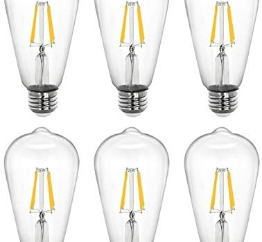 Tenergy Dimmable Edison Bulbs 5W LED Filament Bulbs (40 Watt Equivalent), Soft White (2700K), ST64 Bulbs, E26 Medium Standard Base Decorative Light Bulbs for Ceiling Light Fixtures (Pack of 6)