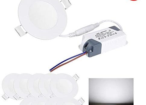 Yescom 3W 3″ LED Recessed Panel Ceiling Light Ultra-thin 200LM Cool White 25W Equivalent Downlight (Pack of 60)