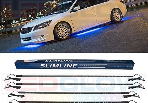 LEDGlow 4pc Blue Slimline LED Underbody Underglow Accent Neon Lighting Kit for Cars – Solid Color Illumination – Water Resistant, Low Profile Tubes – Included Power Switch Turns Lights On & Off