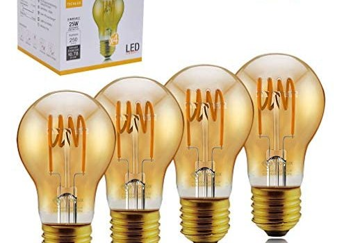 TECHLUX A19 Dimmable Vintage Flexible Spiral Flexible LED Filament Lights Bulb Vintage Amber Glass LED Reading/Bedroom/Bar Lighting, 30W Equivalent, Warm White 2000K, E26, Pack of 4