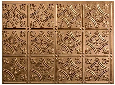 FASÄDE Traditional Style/Pattern 1 Decorative Vinyl Backsplash Panel in Antique Bronze (One 18″ x 24″ Panel)