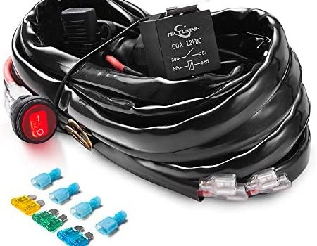 MICTUNING HD+ 12 Gauge LED Light Bar Wiring Harness Kit with 60Amp Relay, 3 Free Fuse, On-off Waterproof Switch Red(2 Lead)