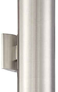 Kira Home Enzo 15″ 2-Light Modern Indoor/Outdoor Wall Sconce, Weatherproof Up Down Light, Cylinder Metal Shade + Brushed Nickel Finish