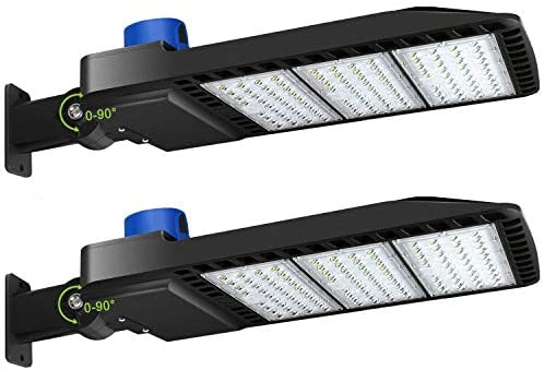 LED Parking Lot Lights 300W – Adjustable Arm Mount with Photocell 1000-1200W HID/HPS Replacement Waterproof IP65 36000LM 5000K Parking Lot LED Lighting (2 Pack)