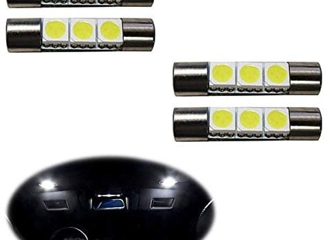 iJDMTOY (4) 3-SMD 29mm 6614F LED Replacement Bulbs For Car Sun Visor Vanity Mirror Lights, Xenon White
