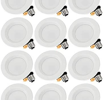 TORCHSTAR 12-Pack 4-Inch Dimmable Recessed LED Downlight with Baffle Trim, 10W (65W Eqv.), CRI 90, ETL, 5000K Daylight, 700lm, Retrofit Lighting Fixture, 5 Years Warranty