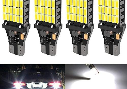 4PCS Super Bright 921 T15 912 W16W LED Reverse Lights, Error Free 904 Led 921 Bulbs 45SMD-4014 Chipsets, Newest 912 921 906 LED Car Bulbs For Car Truck Backup Reverse Lights, 1500 Lumens 6500K White