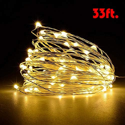 Ariceleo USB LED Fairy String Light, 1 Pack Copper Wire Fairy Lights for Indoor, Bedroom Festival Christmas Wedding Party Patio Decorative Window with USB Interface (33ft./10M,Warm White)