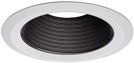 HALO 6109BB E26 Series Recessed Lighting Tapered Baffle with Self Flanged White Trim Ring, 6 In, Black