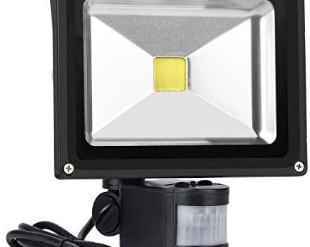 Motion Sensor Floodlight Outdoor, 20W Induction LED Lamp, IP65 Waterproof Spotlight, 6500K 1600LM LED Sensor Light,160W Bulb Equivalent Security Light with US 3-Plug(Daylight White)