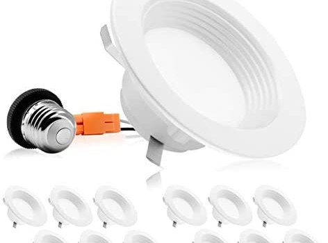 PARMIDA (12 Pack) 4″ inch Dimmable LED Recessed Lighting, 9W (65W Replacement), 600lm, Baffle Trim, Ceiling Can Lights, Energy Star & ETL-Listed, 5 Year Warranty, 3000K (Soft White)