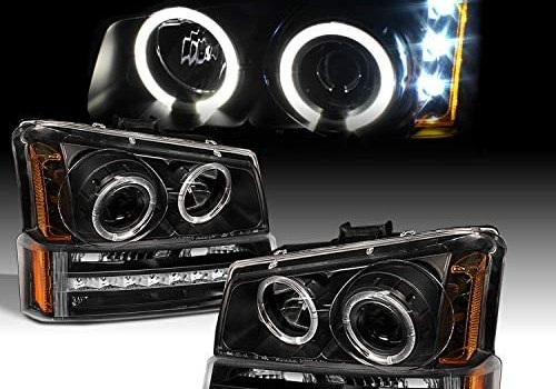 For 2003-2006 Chevy Silverado Black Housing Dual Halo Projector Headlights + LED Bumper Signal Lamps