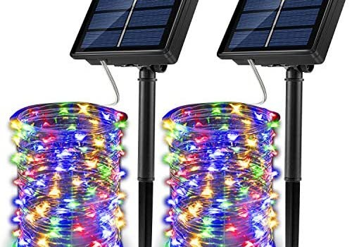 JosMega Upgraded Solar Powered String Fairy Lights 2 Pack 72 ft 200 LED 8 Modes Waterproof IP65 Twinkle Lighting Indoor Outdoor Fairy Firefly Lights Auto ON/Off (2 Pack 72 ft 200 LED, Multicolor)