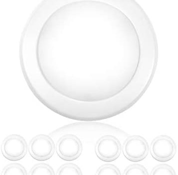"PARMIDA (12 Pack) 5/6"" Dimmable LED Disk Light Flush Mount Recessed Retrofit Ceiling Lights, 15W (120W Replacement), 4000K, Energy Star & UL-Listed, Installs into Junction Box Or Recessed Can, 1050lm"