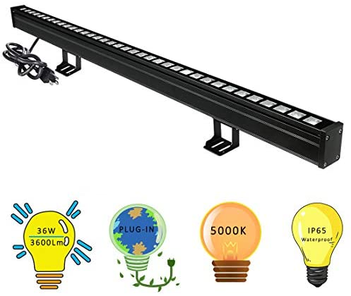 New Upgraded Wall Washer LED Lights with 10×60° Wide Angle, YRXC 36W 5000K Daylight Wall Washer Light, IP65 Waterproof Outdoor Indoor Bar Lights, 120V LED Light Bar for Art Display Sign Wall Lighting