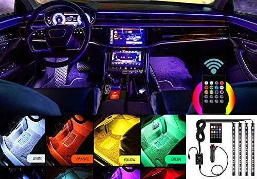 Yuzhe Interior Car Lights, Multicolor Music Car Lights Interior, Waterproof 4pcs 48 LED Car Interior Lights Kit with Sound Active Function and Wireless Remote Control, Including Car Charger, DC 12V