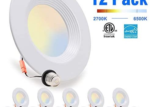 12 Pack, LED Recessed Lighting 5/6 inch Downlight, 10.5W=85W, Dimmable, Damp Rated, 5 Color Changing(Warm to Daylight), E26 Base, Simple Retrofit Installation, Energy Star & ETL Listed