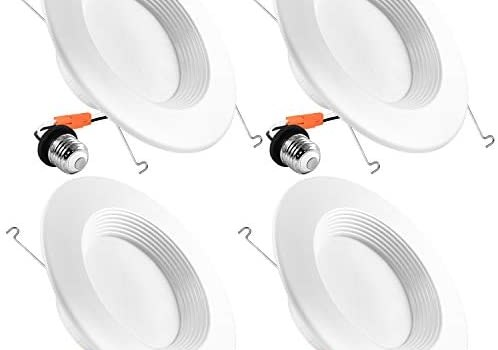 Luxrite 5/6 Inch LED Recessed Lights Dimmable, 15W, 3000K (Soft White), 1100 Lumens, Retrofit LED Downlight 120W Equivalent, DOB, Baffle Trim, Energy Star, ETL Listed, IC & Damp Rated (4 Pack)