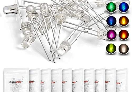 Chanzon 100pcs (10 colors x 10pcs) 3mm LED Diode Lights Assortment (Clear Transparent Lens) Emitting Lighting Bulb Lamp Assorted Kit Variety Colour Warm White Red Yellow Green Blue Orange UV Pink