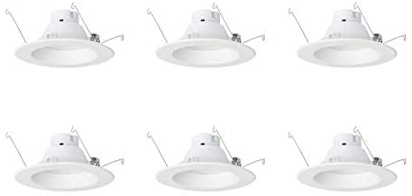 AmazonCommercial 120 Watt Equivalent, 5/6-Inch Recessed Downlight, Dimmable, CEC Compliant, Energy Star, Round LED Light Bulb | Warm White, 6-Pack