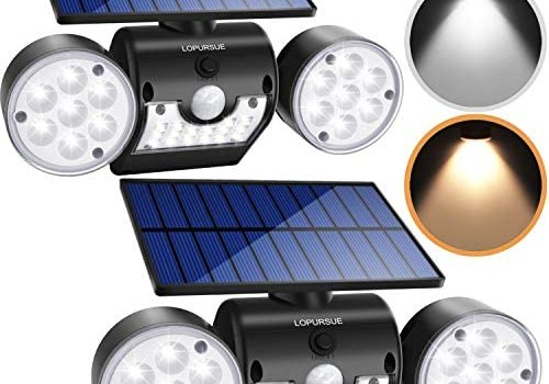 LOPURSUE Solar Lights Outdoor,Dual Colour LED Solar Flood Lights with Motion Sensor Dual Head Spotlights IP65 Waterproof 360° Adjustable for Yards Gardens and Garages(2pack)