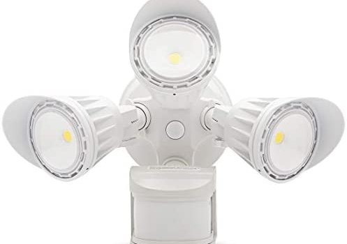 SAATLY Outdoor Motion Sensor Lights 5000K LED Security Light 270°Motion Angle DIM Mode Available 3000LM IP65 Waterproof 3Heads 30W Full Metal Motion Detected Flood Light Photocell with ETL