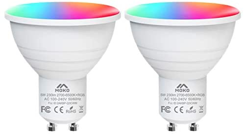 MoKo Smart WiFi LED Light Bulb, 2PACK 5W GU10 Dimmable Bulb RGB + Cool Light + Warm Light Work with Alexa Echo,Google Home, Voice/APP Control, Timer, No Hub Only Supports 2.4GHz Network, White