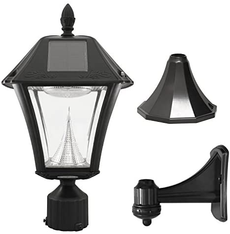 Gama Sonic GS-105FPW-BW Baytown II, Outdoor Solar Light and 3″ Pole Pier & Wall Mount Kits, Lamp Only, Bright White LED, Black