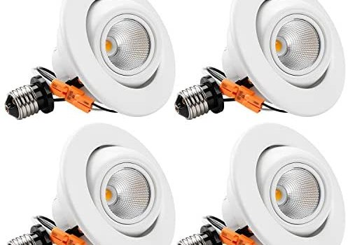 TORCHSTAR 10W 4 Inch High CRI Dimmable Gimbal Retrofit LED Recessed Light, 65W Eqv, ETL, Energy Star, JA8 & Title24 Classified 2700K Soft White, Remodel Adjustable Ceiling Light Downlight, Pack of 4