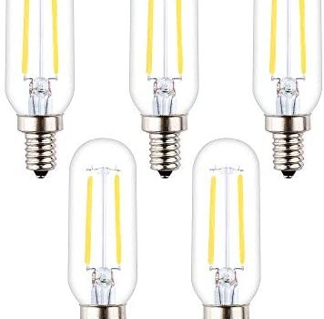 OPALRAY T25/T8 Mini Tube Bulb, 2W Dimmable, 4000K Natural White Light, 25W Incandescent Equivalent, LED Filament Lamp, E12 Small Candelabra Base, Clear Glass Tubular Tip, 5-Pack