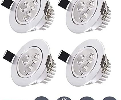 JJSFT Pack of 10 Led Ceiling Recessed Spotlight Light Warm White 3000k Downlight 3w 110lm Ac85-265v Round Aluminum Cut Out 55-60mm for Living Room Bedroom Kitchen (Color : 4 Pack, Size : Warm Light)