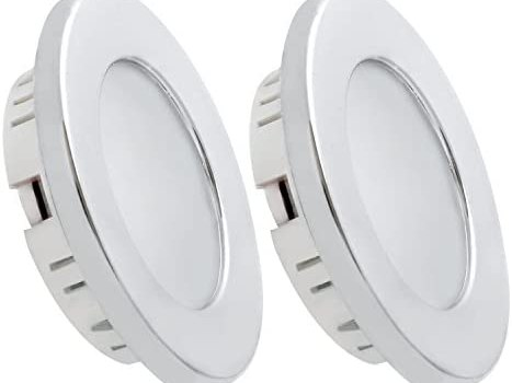 Dream Lighting Under Cabinet LED Lighting 12 Volt 2W Cool White Silver Shell Recessed Downlights for RV Motorhome Camper Trailer Pack of 2