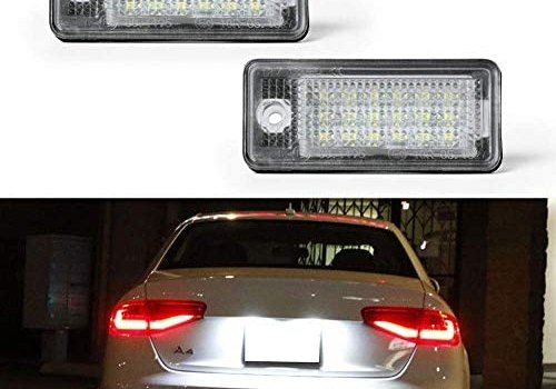 License Plate Light, License Tag Lights, Gempro 2pcs Xenon White LED Car License Number Plate Lamps For Audi A3 S3 A4 S4 A5 A6 S6 A8 S8 Q7 RS4