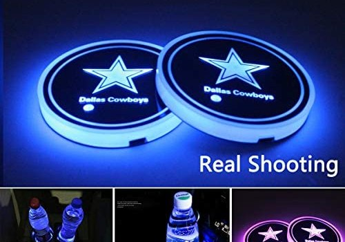 2pcs LED Car Cup Holder Lights for Dallas Cowboys, 7 Colors Changing USB Charging Mat Luminescent Cup Pad, LED Interior Atmosphere Lamp,We are More Loyal Fans
